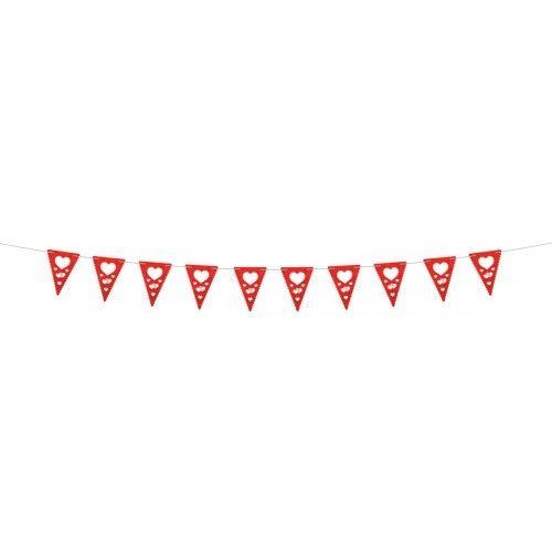 Feestfestijn Vlaggenlijn Trouwen de luxe Rood 4 meter