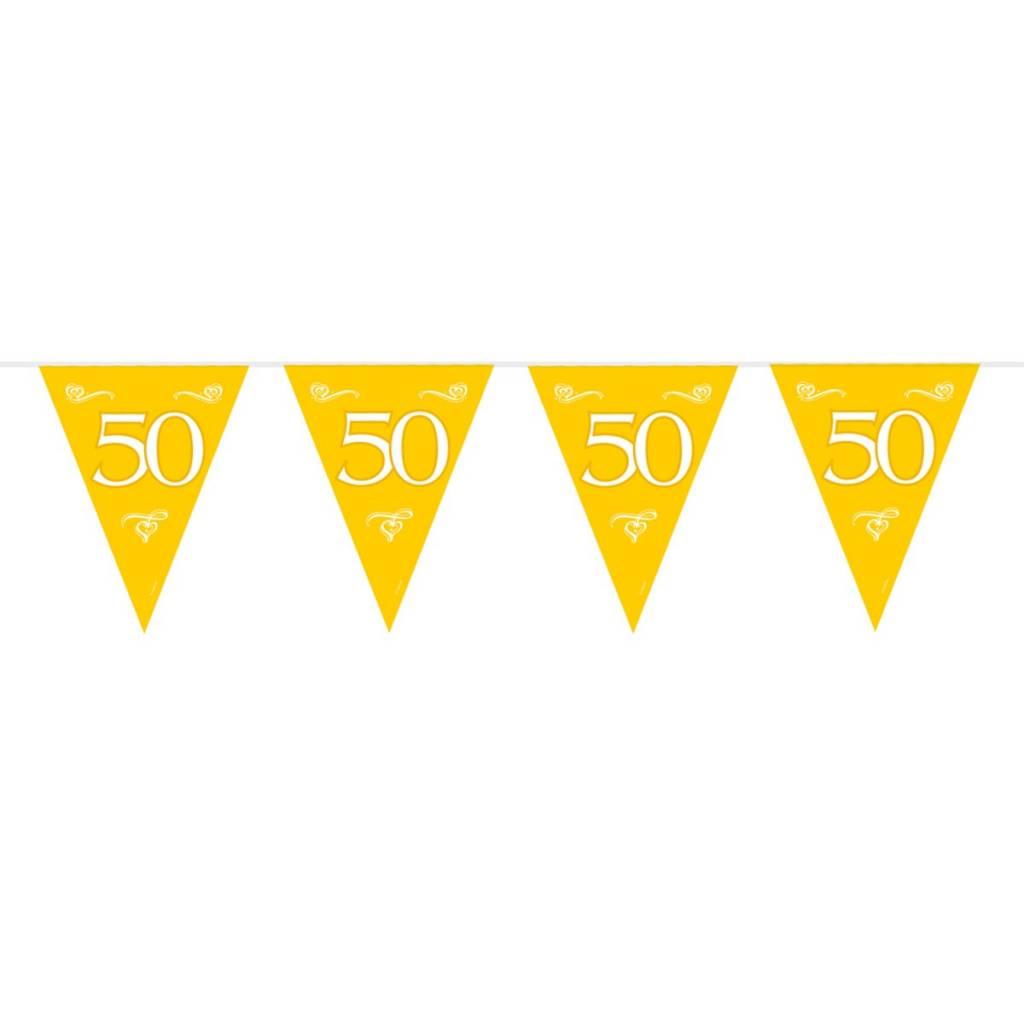 Feestfestijn Vlaggenlijn Goud 50 jaar - 10 meter