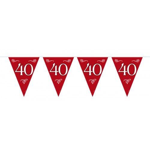 Feestfestijn Vlaggenlijn Robijnrood 40 jaar - 10 meter