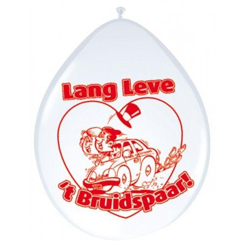 Feestfestijn Ballon Lang leve het Bruidspaar 8 stuks - 30cm