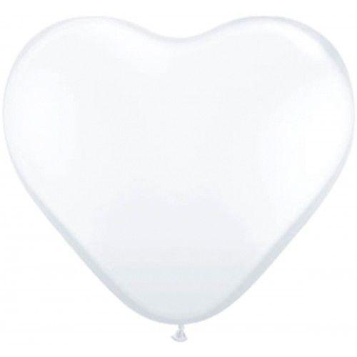 Feestfestijn Ballon Hart Wit  8 stuks - 30 cm