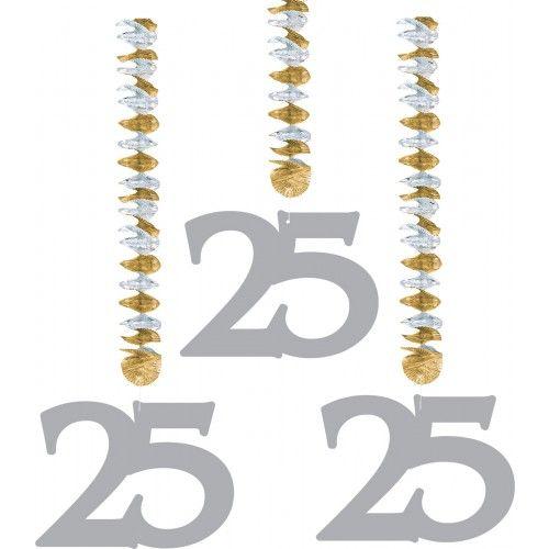 Feestfestijn Hangdecoratie 25 Zilver - 3 stuks