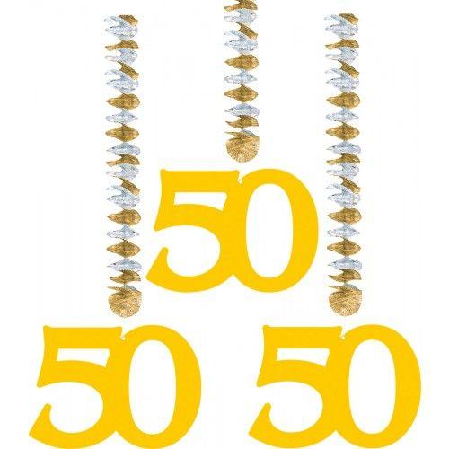 Feestfestijn Hangdecoratie 50 Goud - 3 stuks