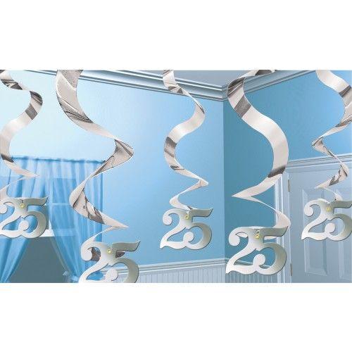 Feestfestijn Hangdecoratie Spiraal 25 Zilver - 5 stuks