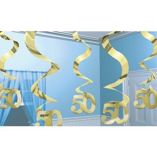 Feestfestijn Hangdecoratie Spiraal 50 Goud - 5 stuks