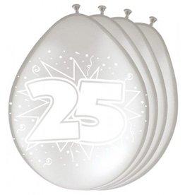 Feestfestijn Ballon 25  Zilver Metallic 8 stuks