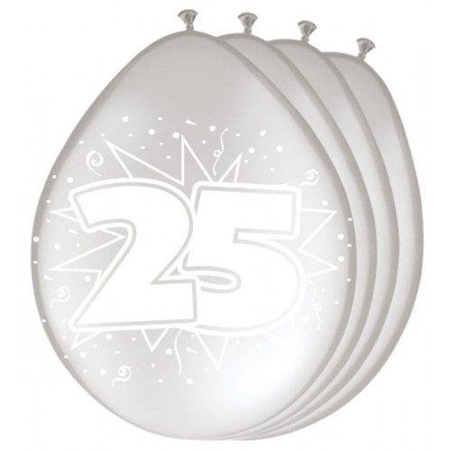 Feestfestijn Ballonnen  Zilver 25 Metallic 8 stuks - 30cm