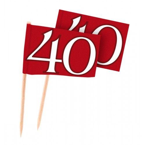 Feestfestijn Cocktailprikkers Robijn 40 jaar - 50 stuks