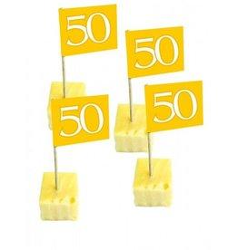 Feestfestijn Cocktailprikkers Goud 50 Jaar - 50 Stuks