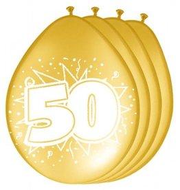 Feestfestijn Ballon 50 Metallic Goud 8 stuks