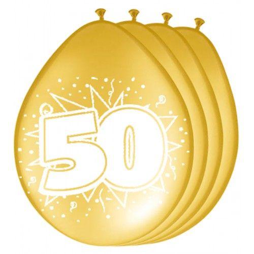 Feestfestijn Ballon 50 Metallic Goud 8 stuks - 30 cm