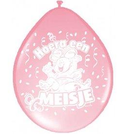 Feestfestijn Ballon Hoera een Meisje 8 stuks