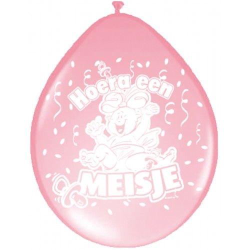 Feestfestijn Ballon Hoera een Meisje 8 stuks - 30 cm