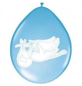 Feestfestijn Ballon met Ooievaar Blauw 8 stuks
