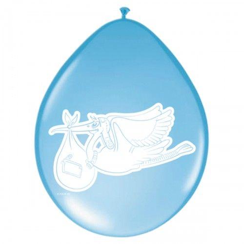 Feestfestijn Ballon met Ooievaar Blauw 8 stuks - 30 cm