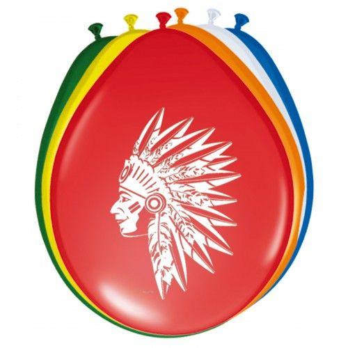 Feestfestijn Ballon Indiaan 8 stuks - 30 cm
