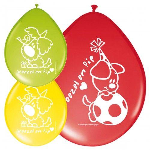 Feestfestijn Ballon Woezel en Pip 8 stuks - 30 cm