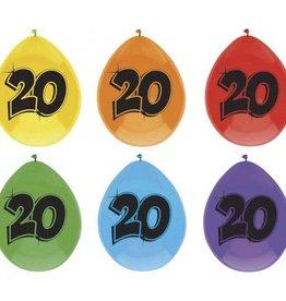 Feestfestijn Ballon 20 jaar 6 stuks