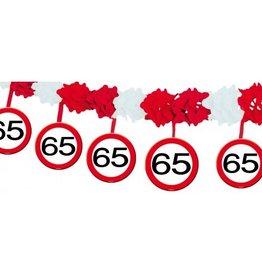 Feestfestijn Slinger verkeersbord 65 jaar met onderhanger