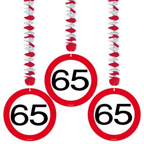 Feestfestijn Hangdecoratie 65 jaar - 3 stuks
