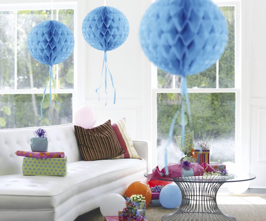 Feestfestijn Honeycomb rond Lichtblauw - 30cm