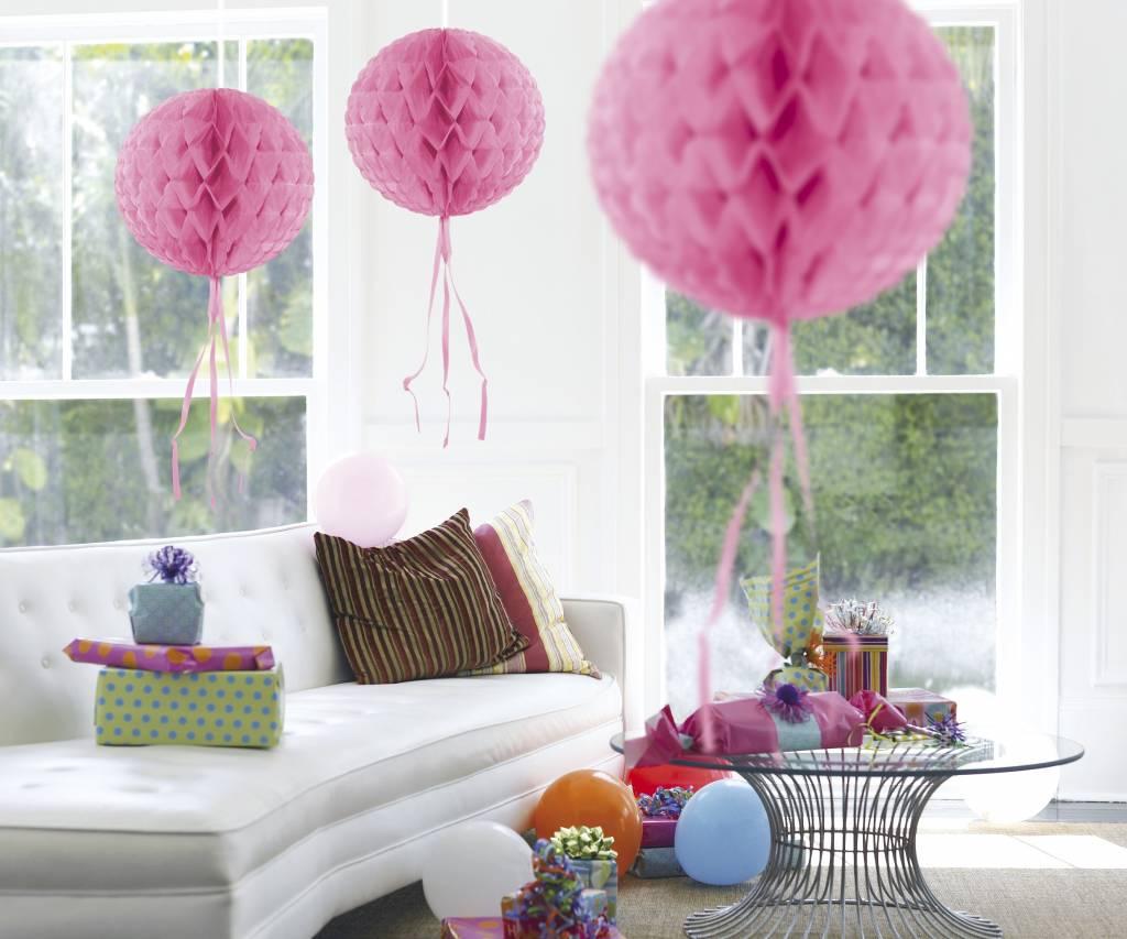 Feestfestijn Honeycomb rond Roze - 30cm