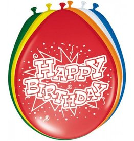 Feestfestijn Ballon Happy Birthday 8 stuks