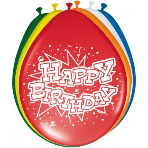 Feestfestijn Ballon Happy Birthday 8 stuks - 30 cm