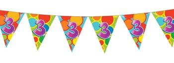 Feestfestijn Vlaggenlijn 3 jaar - 10 meter