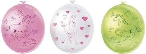 Feestfestijn Paarden ballonnen 6 stuks roze, wit en groen