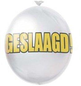 Feestfestijn Ballon Hoera Geslaagd Rood, wit & blauw 10 stuks