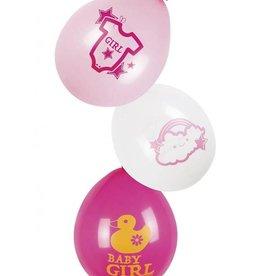 Feestfestijn Ballon  Baby Girl roze 6 stuks