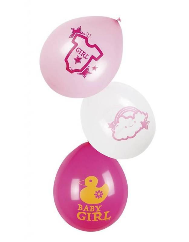 Feestfestijn Ballon Baby Girl roze 6 stuks  25 cm