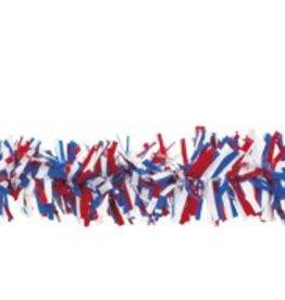 Feestfestijn PVC slinger 10 meter Rood/Wit/Blauw brandvertragend
