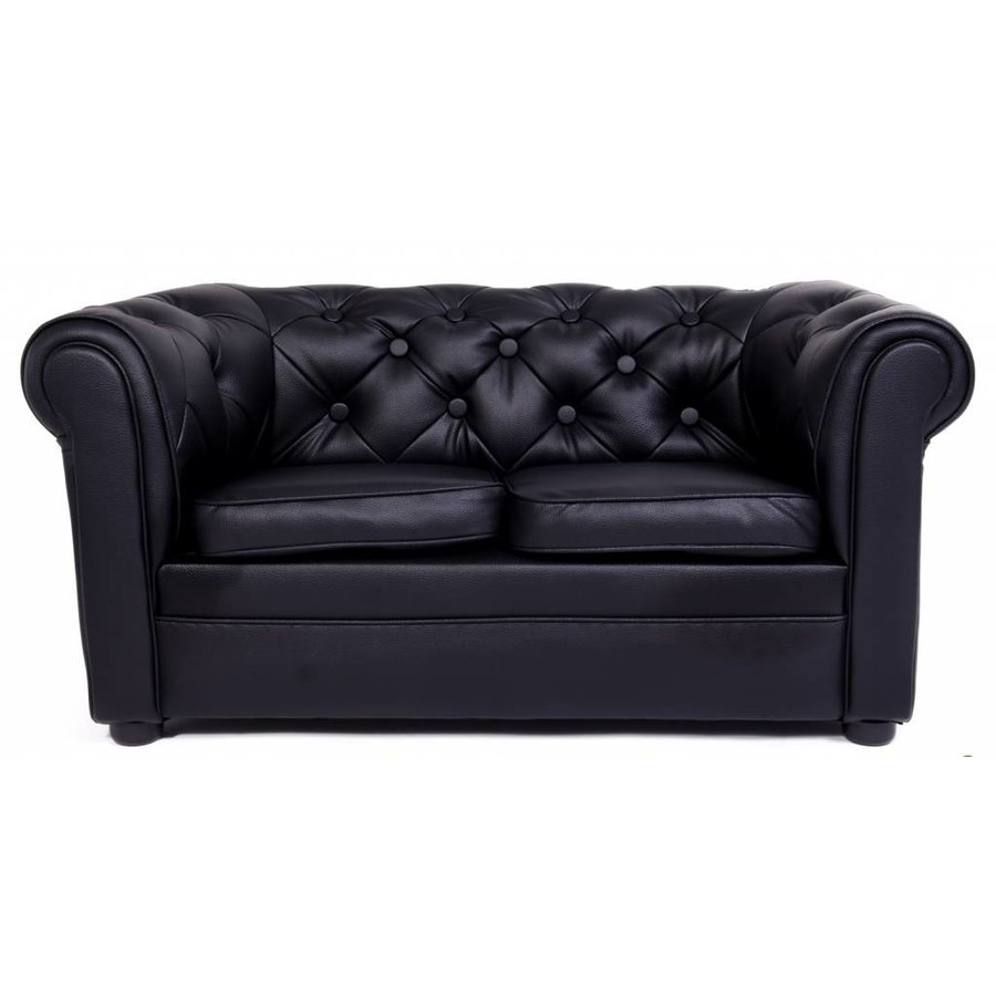 Chester Sofa 2 zitter mini - mat Zwart