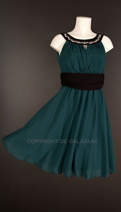 Paris Collection Cocktailjurk aqua-groen kleur 2165