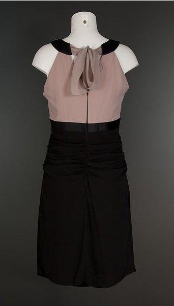 LaSense Cocktailjurk roze zwart 1808