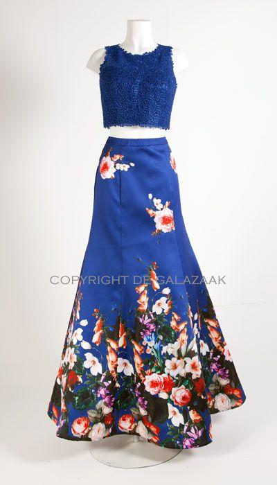Magic Nights Blauwe galajurk met bloemen print