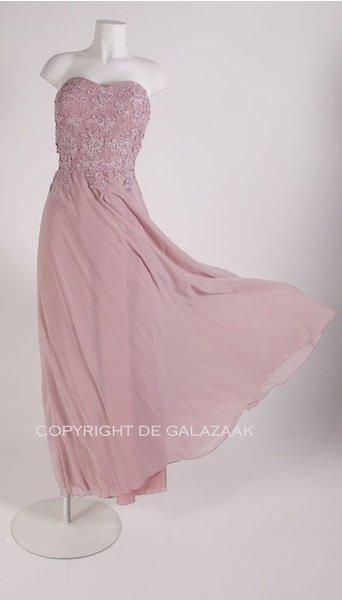 Juju & Christine Oud roze galajurk met kanten top