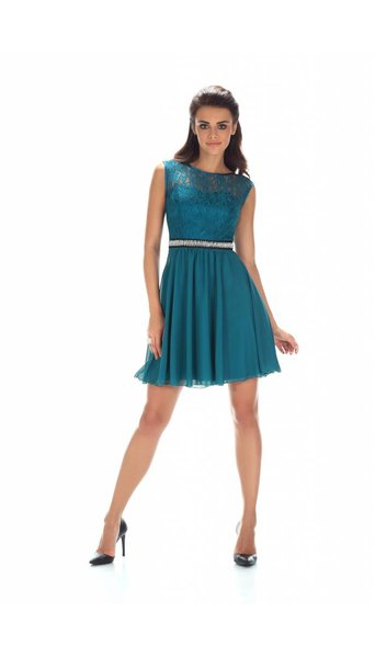 Paris Collection Cocktailjurk groen-aqua 2387