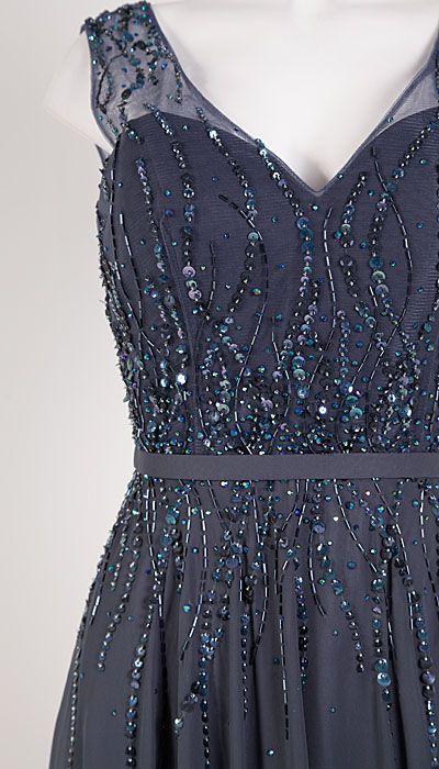 Magic Nights Blauw-grijze galajurk met kraaltjes