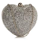GLZK 3 Clutch hartvormig zilver