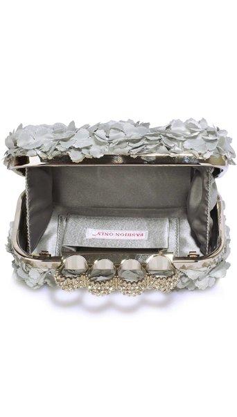 GLZK Clutch gebloemd zilver
