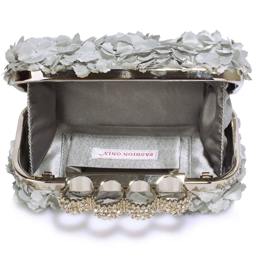 GLZK 3 Clutch gebloemd zilver