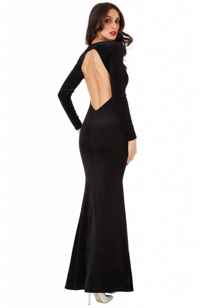 City Goddess Galajurk in zwart fluweel met lange mouw