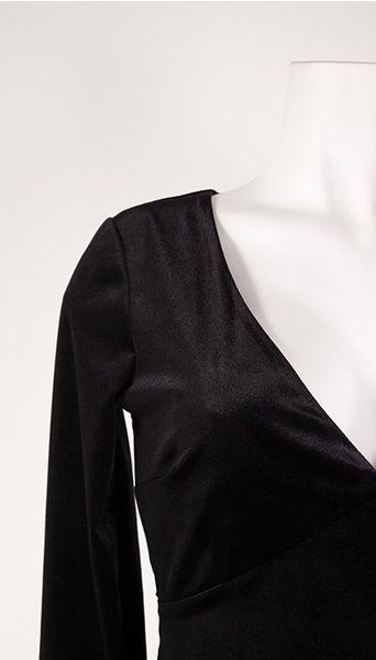 GLZK Galajurk in zwart fluweel met lange mouw