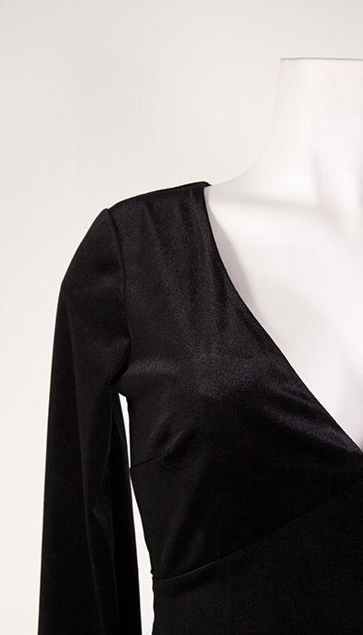 GLZK 3 Galajurk in zwart fluweel met lange mouw