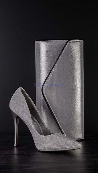 Clutch zilver metallic 2704