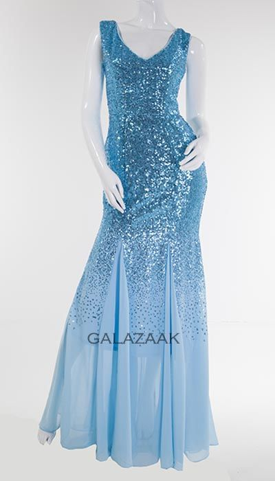 City Goddess Lichtblauwe galajurk mét pailletten