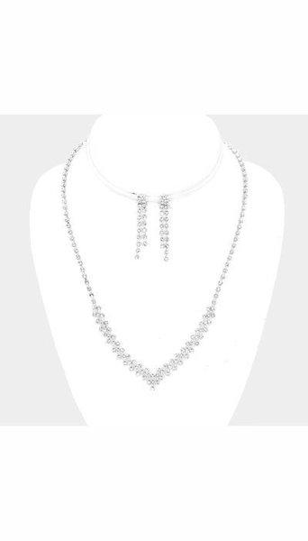 Set Ketting + Oorbellen zilver 3425